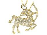 White Crystal Gold Tone Sagittarius Pin Pendant With Chain