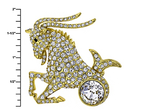 White Crystal Gold Tone Capricorn Pin Pendant With Chain