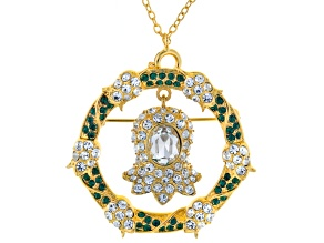 Multicolor Crystal Gold Tone Lily Of The Valley Pin Pendant With Chain