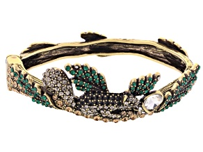 Multicolor Crystal Antiqued Gold Tone Squirrel Branch Bracelet