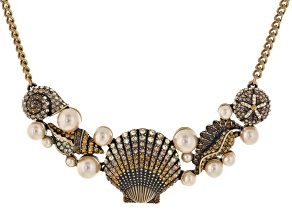 Multicolor Crystal Pearl Simulant Antiqued Gold Tone Seashell Necklace