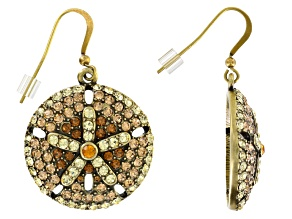 Multicolor Crystal Antiqued Gold Tone Sand Dollar Earrings