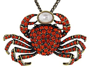 Orange Crystal White Pearl Simulant Antiqued Gold Tone Crab Pin Pendant With Chain