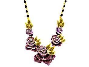 Multicolor Crystal Enamel Rose Necklace