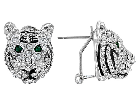 White And Green Crystal Black Enamel Tiger Earrings