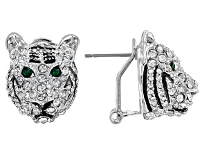 White And Green Crystal Black Enamel Silver Tone Tiger Earrings