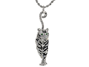 White And Green Crystal Black Enamel Silver Tone Tiger Necklace
