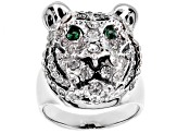 White And Green Crystal Black Enamel Silver Tone Tiger Ring