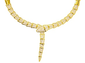 White Crystal Gold Tone Snake Necklace
