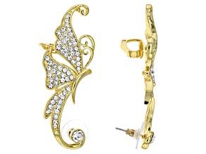 White Crystal Gold Tone Butterfly Ear Climber Earrings