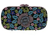 Multicolor Crystal Gunmetal Tone Floral Clutch With Chain