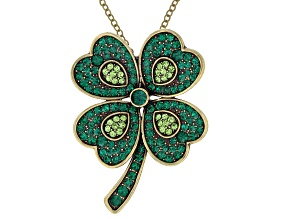 Green Crystal Antiqued Gold Tone Four Leaf Clover Pin Pendant With Chain