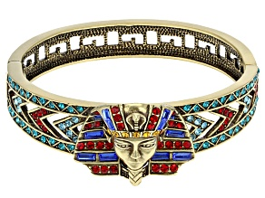 Multicolor Crystal Antiqued Gold Tone Pharaoh Bracelet