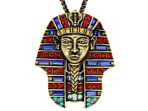 Multicolor Crystal Antiqued Gold Tone Pharaoh Pendant With Chain
