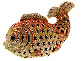 Multicolor Crystal Iridescent Crystal Gold Tone Fish Clutch With Chain
