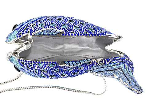 Multicolor Crystal Crystal Silver Tone Fish Clutch With Chain