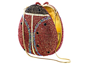 Multicolor Crystal Pearl Simulant Gold Tone Ladybug Clutch With Chain