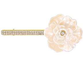 White Crystal Ivory Flower Barrette