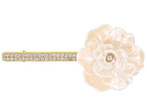 White Crystal Ivory Flower Barrette