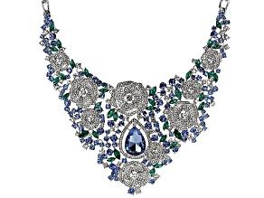 Multicolor Crystal Silver Tone Flower Necklace