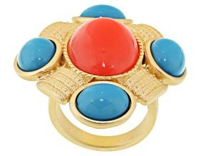 Imitation Coral Imitation Turquoise Gold Tone Ring