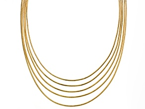 Gold Tone Five Row Necklace