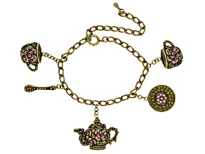 Multicolor Crystal Antiqued Gold Tone Tea Pot Bracelet