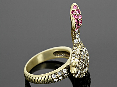 Multicolor Crystal Antiqued Gold Tone Mother Good Ring