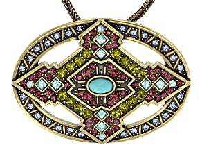 Multicolor Crystal Turquoise Simulant Antiqued Gold Tone Pin Pendant With Chain