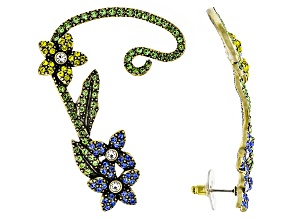 Antiqued Gold Tone Multicolor Crystal Flower Ear Cuff