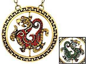 Multicolor Crystal Antiqued Gold Tone Rotating Dragon Necklace