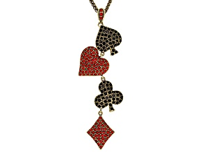 Red Crystal Black Crystal Antiqued Gold Tone Card Necklace
