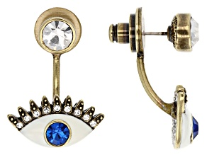 White Crystal Blue Crystal White Enamel Antiqued Gold Tone Eye Earrings
