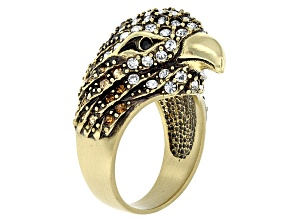 White Crystal Champagne Crystal Black Crystal Antiqued Gold Tone Eagle Ring