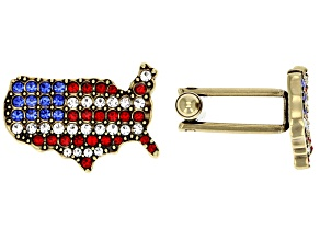 Red Crystal White Crystal Blue Crystal Antiqued Gold Tone America Cufflinks