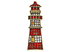 Multicolor Crystal Antiqued Gold Tone Lighthouse Brooch