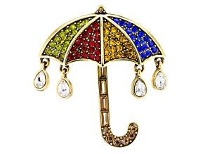 Multicolor Crystal Antiqued Gold Tone Umbrella Brooch