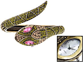 Green Crystal Champagne Crystal Pink Crystal White Crystal Antiqued Yellow Snake Watch