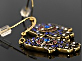Multicolor Crystal Antiqued Gold Tone Hamsa Hand Earrings