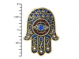 Multicolor Crystal Antiqued Gold Tone Hamsa Hand Pin/Pendant With Chain