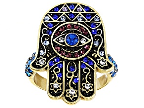 Multicolor Crystal Antiqued Gold Tone Hamsa Hand Ring