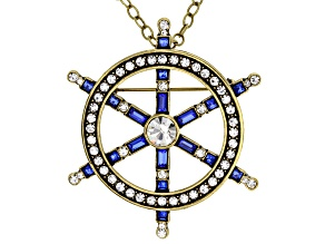 Multicolor Crystal Antiqued Gold Tone Ship Wheel Pin Pendant With Chain