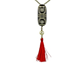 White Crystal Pearl Simulant Black Enamel Antiqued Gold Tone Tassel Necklace