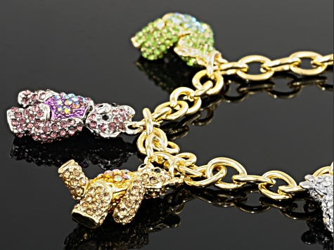 Multicolor Crystal Gold Tone Teddy Bear Bracelet