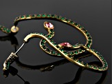 Green Crystal Pink Crystal Antiqued Gold Tone Snake Ear Cuff