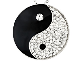 White Crystal Black Enamel Silver Tone Ying Yang Pin Pendant With Chain
