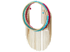 Blue And Pink Beaded Gold Tone Fringe Bracelet