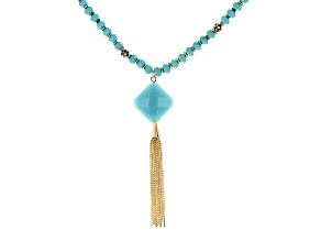 Teal Bead Crystal Gold Tone Tassel Necklace