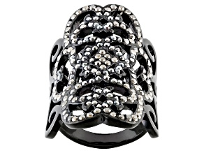 Gunmetal Tone Black Crystal Lace Design Ring