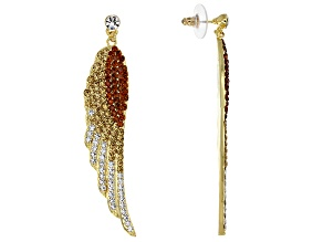 Champagne Ombre Gold Tone Wing Earrings